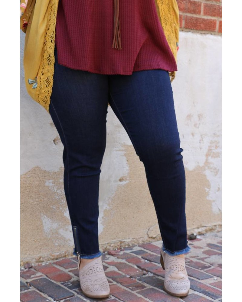 Kan Can Kan Can- Marisa June Indigo Ankle Zipper Skinny Jean