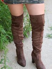 Zinc Light Brown Suede Over the Knee Heeled Boot