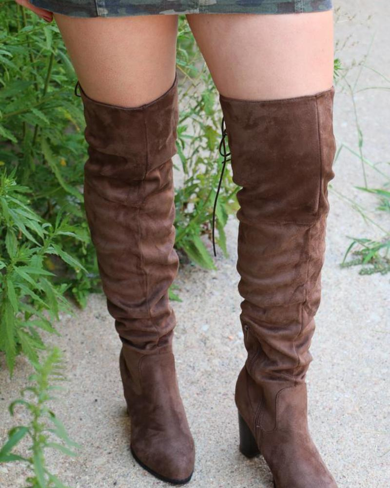 Zinc Light Brown Suede Over the Knee Heeled Boot