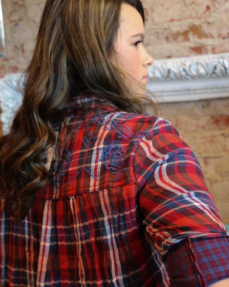 Free People Magical Plaid Button Down