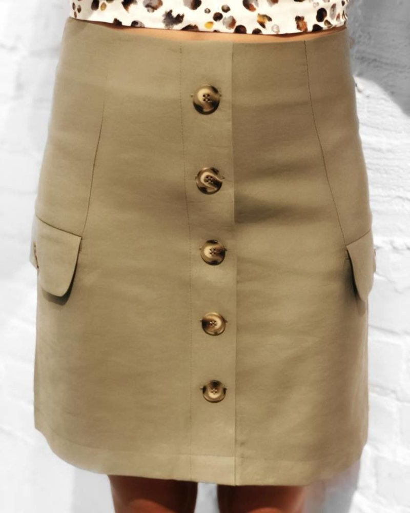 J.O.A Button Down Skirt Olive