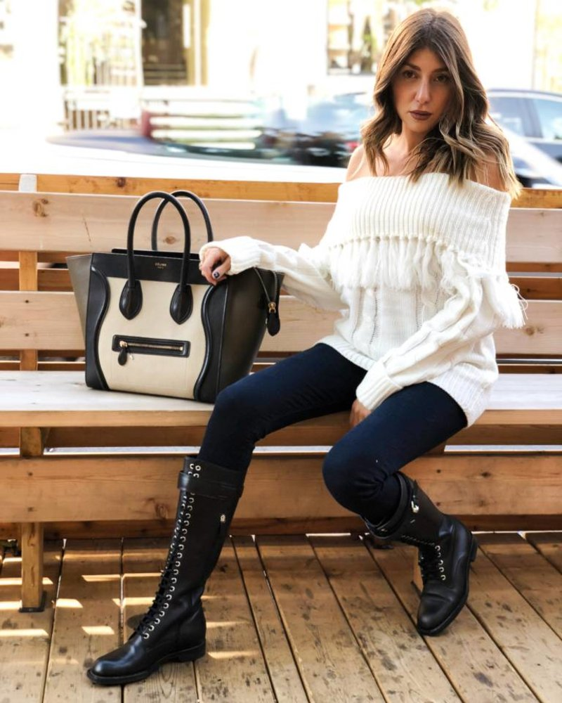 Moon River Emma Fringed Cowl Neck Sweater
