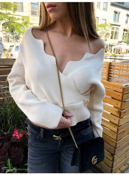 J.O.A Nyla Scalloped Edge Wrap Sweater