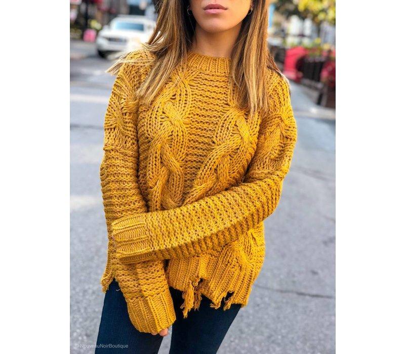 Cruz Distressed Hem Sweater