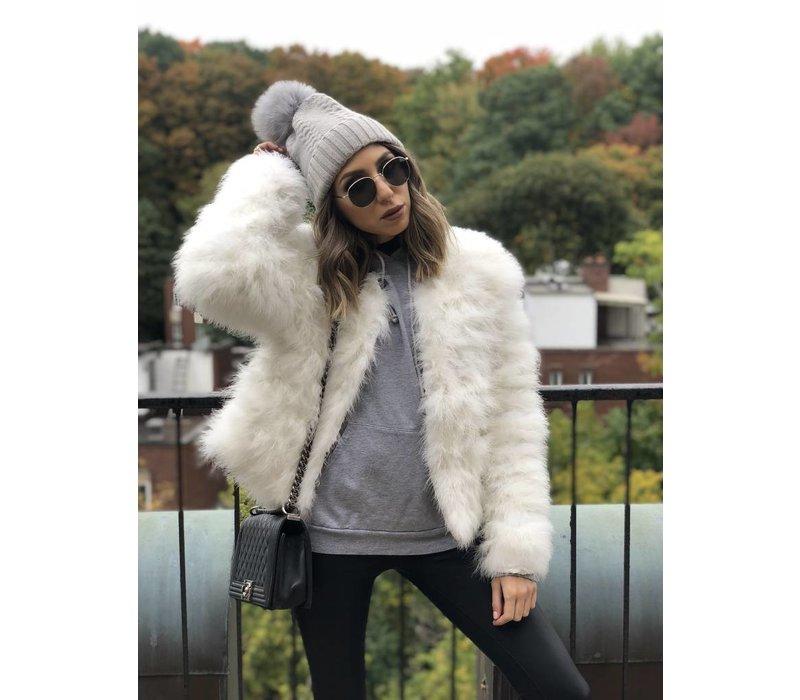 Belledonne Ostrich Feather Jacket White **FINAL SALE**