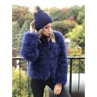 Belledonne Ostrich Feather Jacket Sapphire **FINAL SALE**