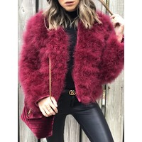 Belledonne Ostrich Feather Jacket Merlot **FINAL SALE**