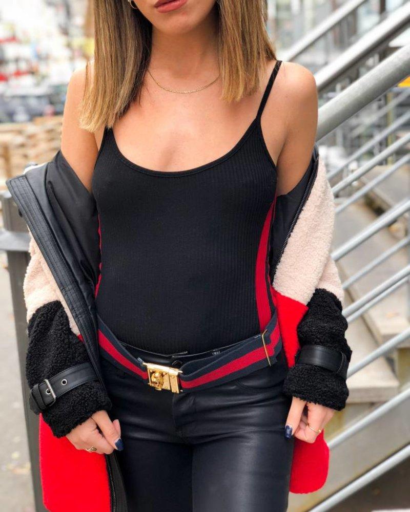 Nouveau Noir Stripe Out Bodysuit