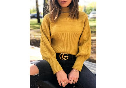 J.O.A Milo Turtleneck Cable Knit Sweater
