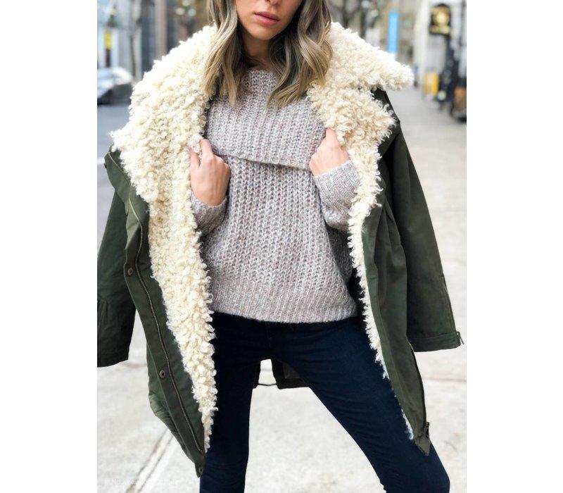 Fiona Off Shoulder Knit Taupe Grey