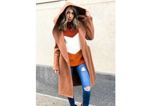 Nouveau Noir Riley Wool Hooded Wrap Coat
