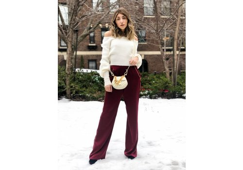 WAYF Piped Wide Leg Pant Burgundy