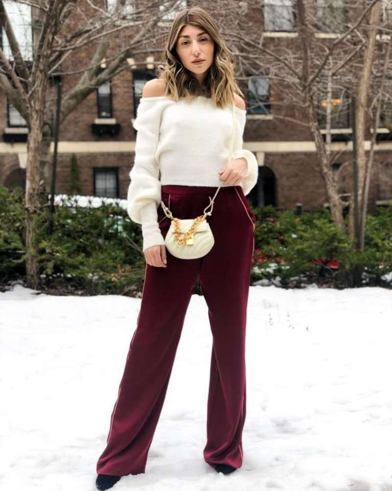 Piped Wide Leg Pant Burgundy