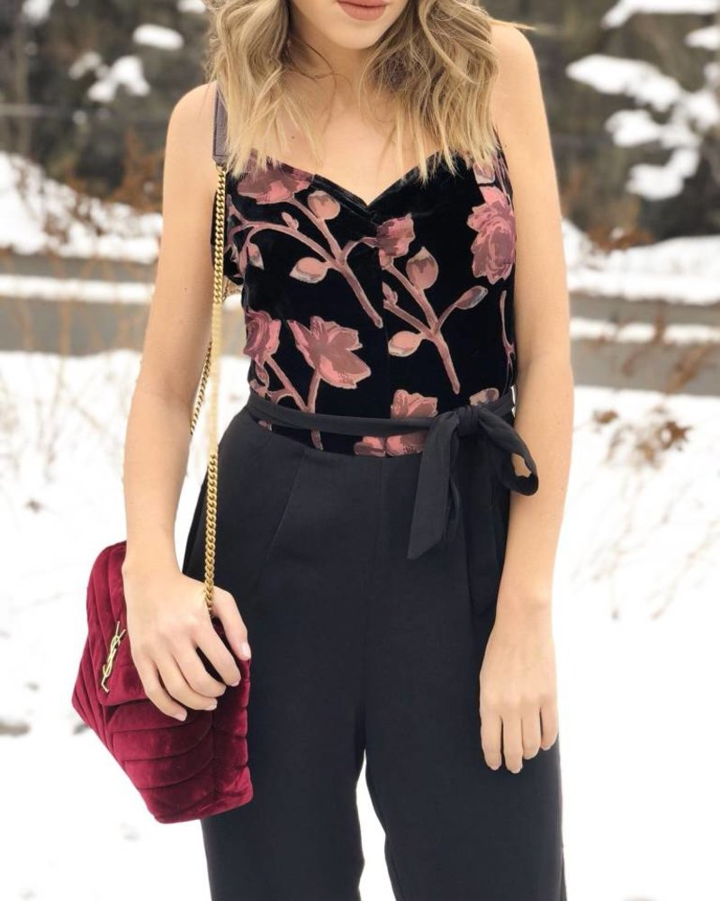 Nouveau Noir Emilia Strap Jumpsuit Black Velvet