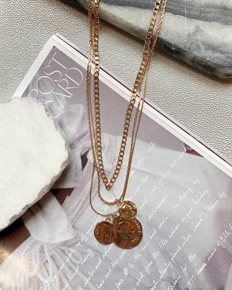 Nouveau Noir Lex Layered Coin Necklace