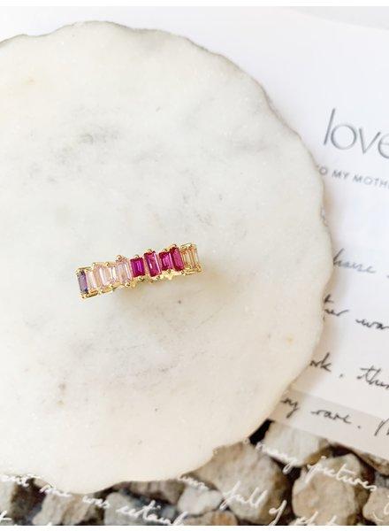Nouveau Noir Rainbow Small CZ Ring Gold