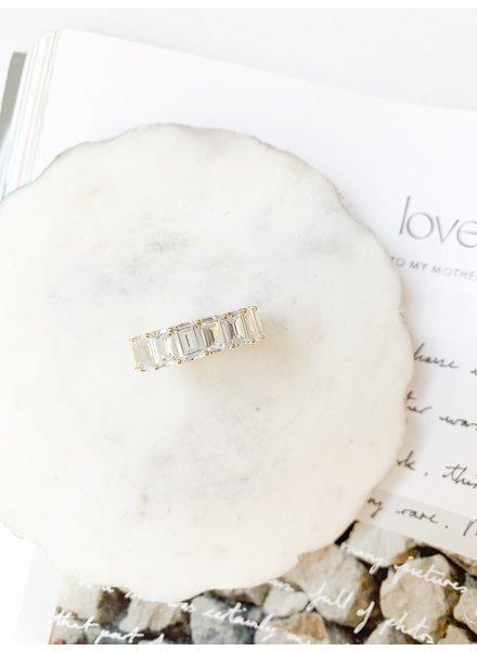 Nouveau Noir Clear Big CZ Ring Silver
