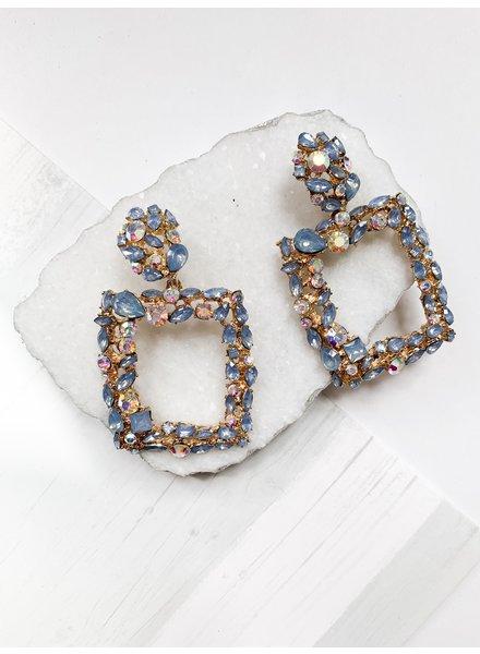 Nouveau Noir Etta Rhinestone Earrings Blue