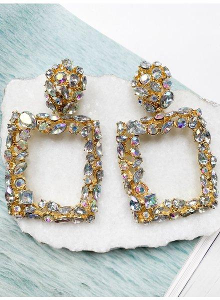 Nouveau Noir Etta Rhinestone Earrings Clear