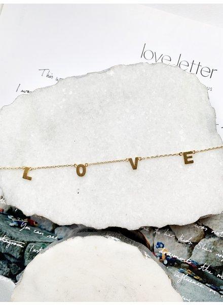 Nouveau Noir LOVE Necklace Gold