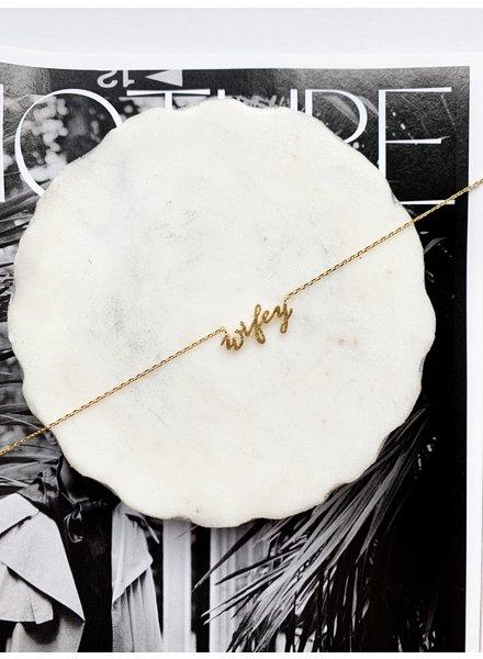 Nouveau Noir Wifey Necklace Gold