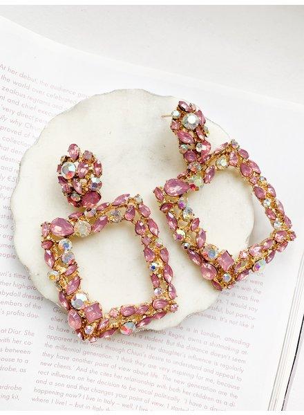 Nouveau Noir Etta Rhinestone Earrings Pink