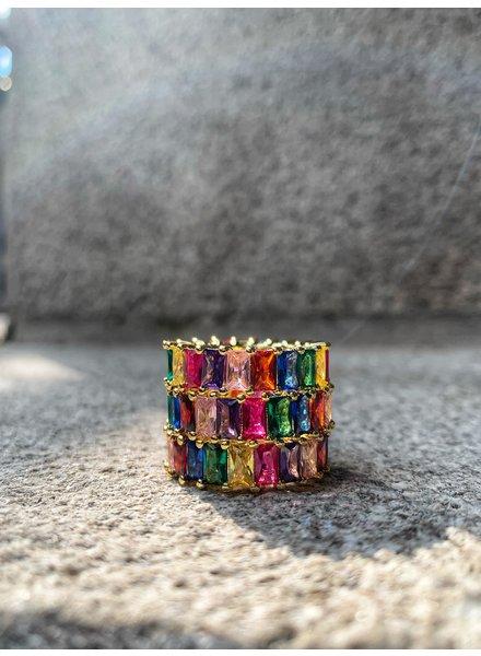 Nouveau Noir Over The Rainbow CZ Ring