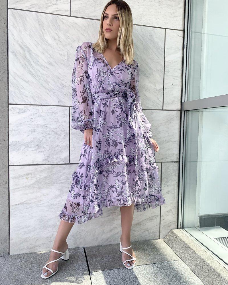 Keepsake Luscious Ls Midi Dress Lilac Floral
