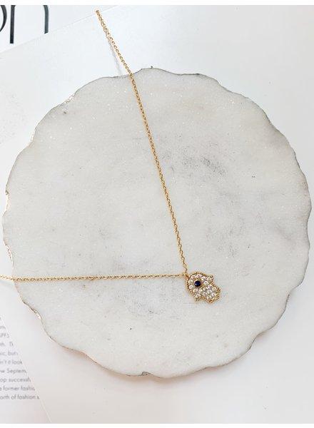 Nouveau Noir Hamsa Prayer Necklace