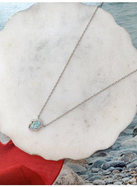 Nouveau Noir Opal Hamsa Necklace