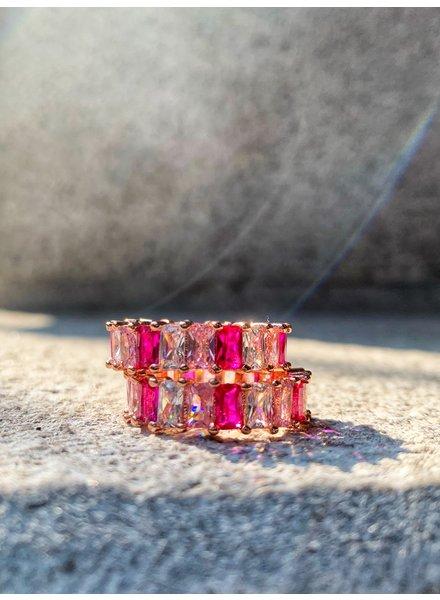 Nouveau Noir Think Pink CZ Ring