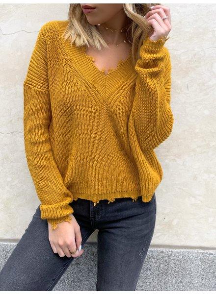 Nouveau Noir Raw V-Neck Sweater