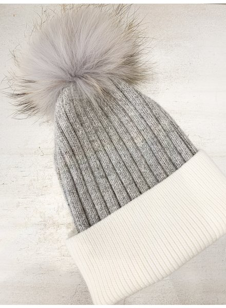 Nouveau Noir Berlin Colourblock Beanie Grey/White