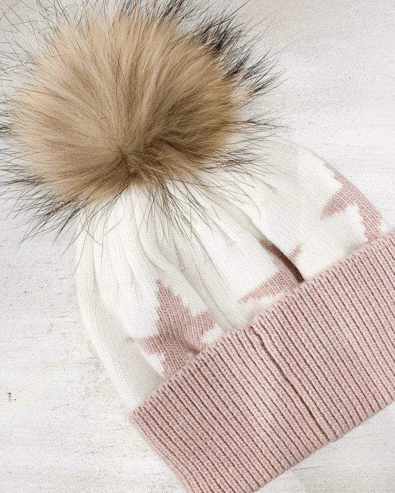 Nouveau Noir Cambridge Star Beanie White/Pink