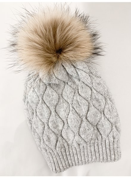 Nouveau Noir Notting Hill Cable Knit Beanie Light Grey