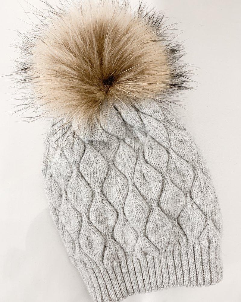 Nouveau Noir Notting Hill Cable Knit Beanie Light Grey