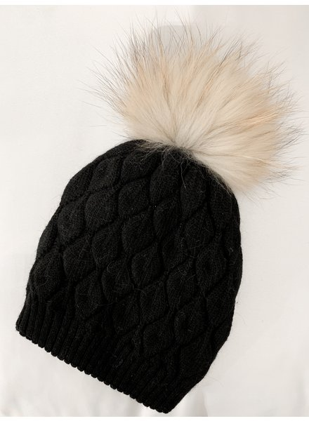 Nouveau Noir Notting Hill Cable Knit Beanie Black