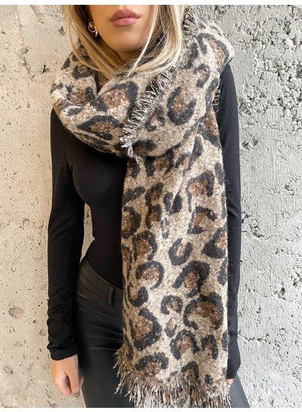 Nouveau Noir Soho Leopard Scarf Khaki