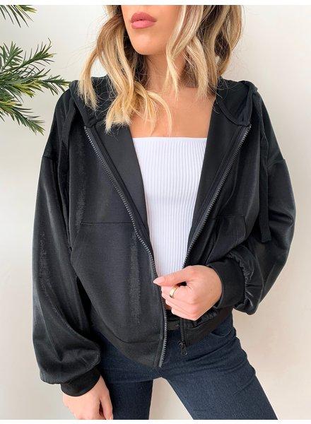 Nouveau Noir Carmel Zip Hoodie