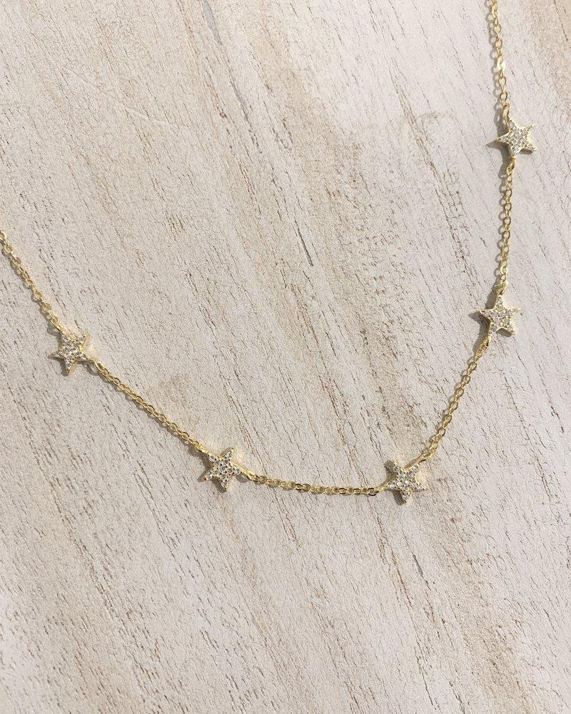 Nouveau Noir Star CZ Necklace Gold