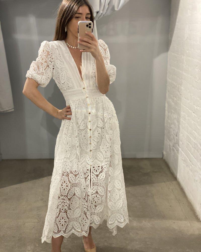 4AUKMD Letter Midi Dress Porcelain