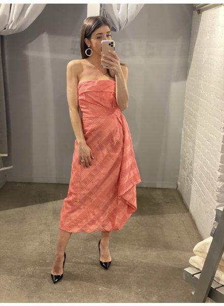 4AUCMD Same Things Midi Dress Coral Check