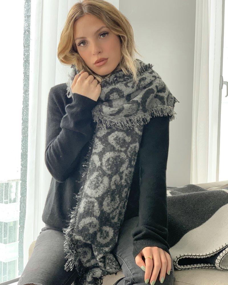Nouveau Noir Soho Leopard Scarf Black/Grey