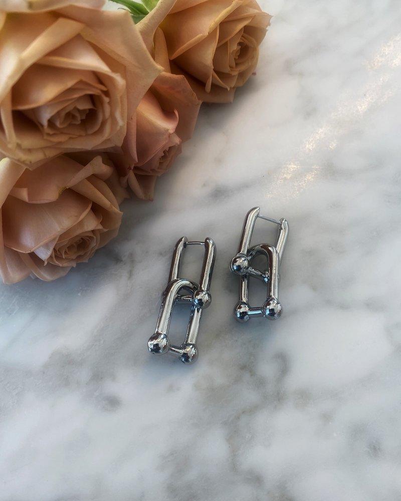 Nouveau Noir Baldwin Earrings Silver