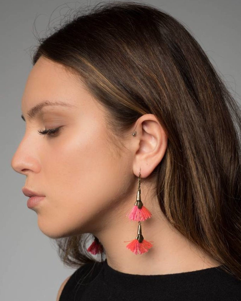 Nouveau Noir Lina Tassel Earring in Pink