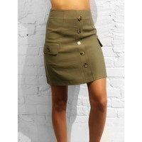 Button Down Skirt Olive