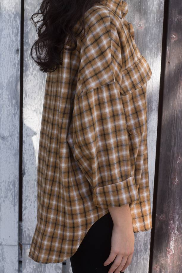 Alaina Plaid Button Down Woven Shirt