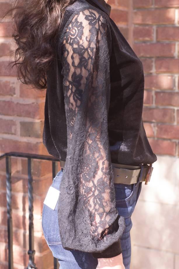 Emani Hi Nck Velvet Bodysuit W/Lace Sleeves