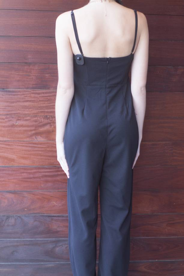 Kailani Tie Front Solid Cami Jumpsuit