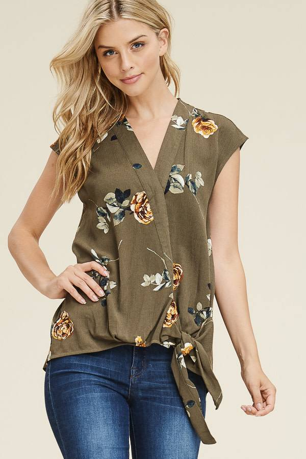 Floral Side Tie Wrap Frt Top
